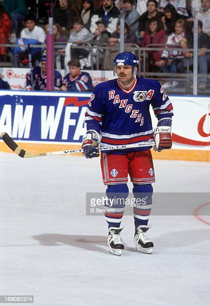 Mike Gartner of the New York Rangers skates on the ice during an NHL game against the Vancouver Canucks on February 12 1992 at the Madison Square...