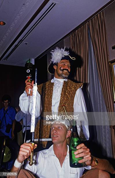 Mike Gatting and Graham Dilley of the England cricket team attend a Christmas party in fancy dress during their Australian tour December 1986