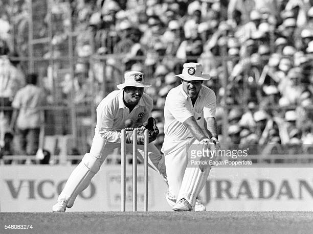Mike Gatting of England plays a reversesweep during his innings of 41 runs in the Reliance World Cup Final between Australia and England at Eden...