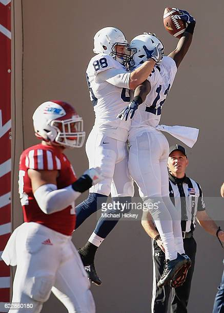 Mike Gesicki and Chris Godwin of the Penn State Nittany Lions celebrate a touchdown against the Indiana Hoosiers at Memorial Stadium on November 12...
