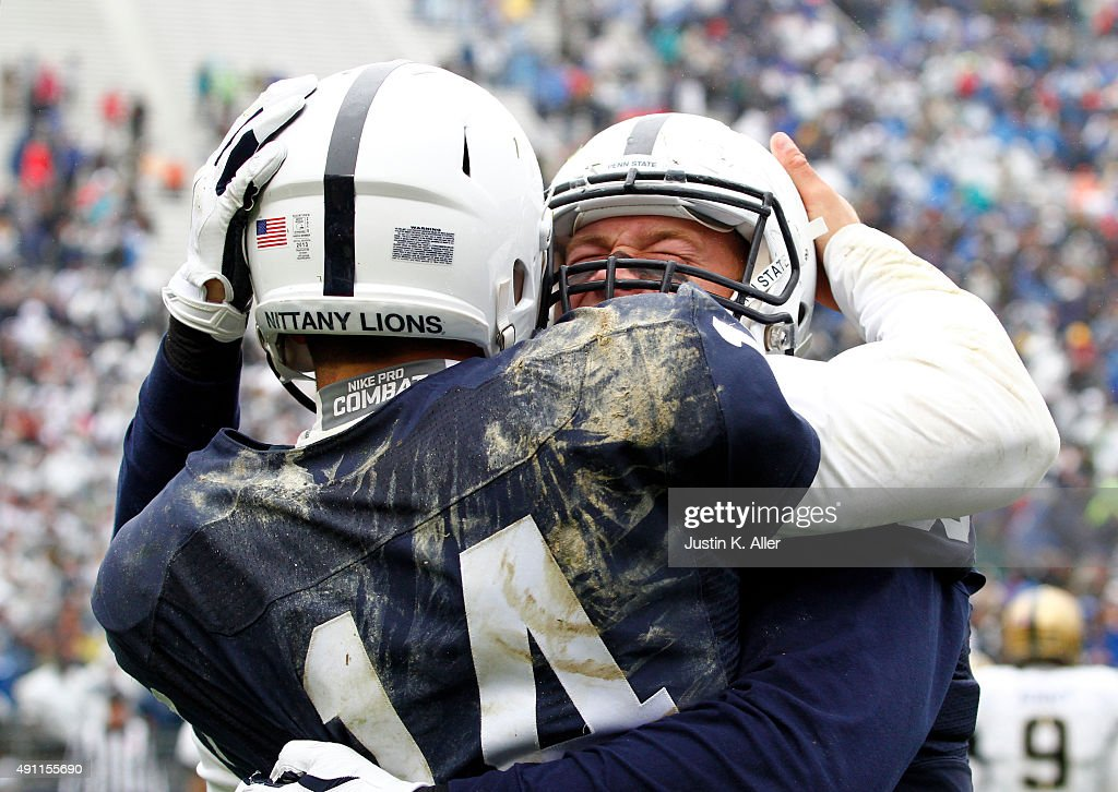 Mike Gesicki #88 of the Penn State Nittany Lions celebrates with <a gi-track='captionPersonalityLinkClicked' href=/galleries/search?phrase=Christian+Hackenberg&family=editorial&specificpeople=11321709 ng-click='$event.stopPropagation()'>Christian Hackenberg</a> #14 after a 33 yard touchdown pass in the third quarter during the game against the Army Black Knights on October 3, 2015 at Beaver Stadium in State College, Pennsylvania.