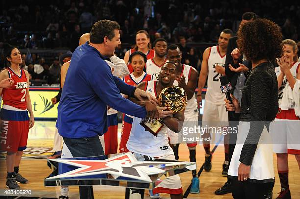 Mike Golic and Kevin Hart attend the NBA AllStar Celebrity Game NBA All Star Weekend 2015 on February 13 2015 in New York City