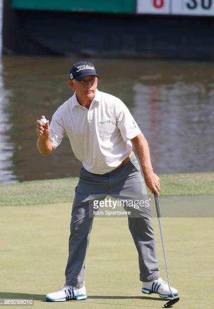 Mike Goodes finishes up his round during the Mitsubishi Electric Classic tournament at the TPC Sugarloaf Golf Club Sunday April 16 in Duluth GA
