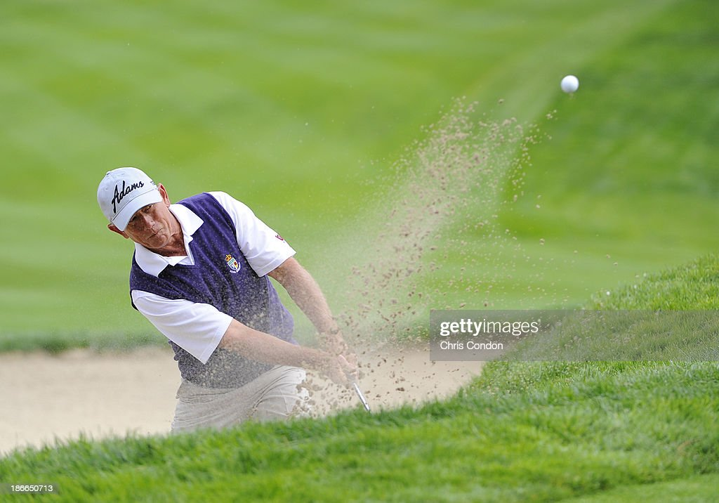 Mike Goodes hits from a bunker on the 15th hole during the third round of the Charles Schwab Cup Championship at TPC Harding Park on November 2, 2013 in San Francisco, California.