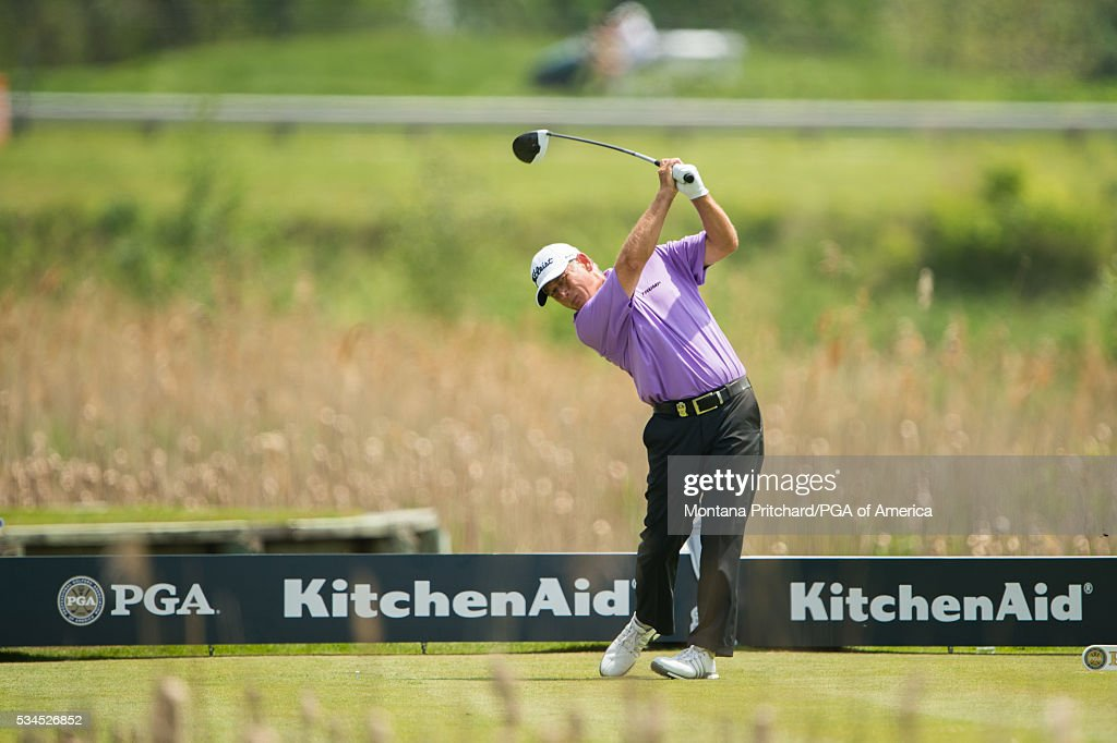 Mike Goodes hits his tee shot on the seventh hole during the first round for the 77th Senior PGA Championship presented by KitchenAid held at Harbor Shores Golf Club on May 26, 2016 in Benton Harbor, Michigan.