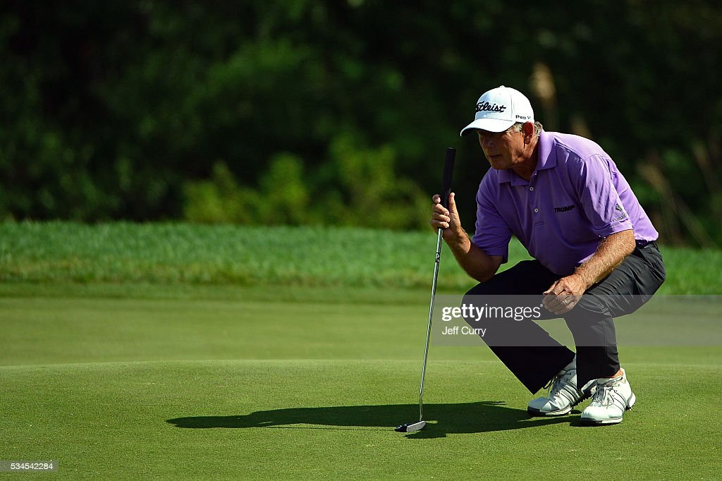 Mike Goodes lines up a putt during the first round 2016 Senior PGA Championship presented by KitchenAid at the Golf Club at Harbor Shores on May 26, 2016 in Benton Harbor, Michigan.