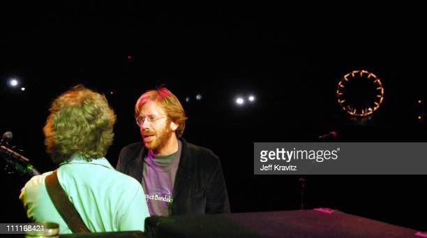Mike Gordon and Trey Anastasio during Phish It Festival Sound Check at Loring Airforce Base in Limestone Maine United States