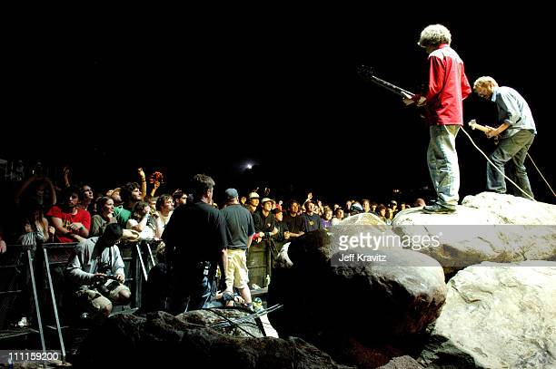 Mike Gordon and Trey Anastasio of Phish during Phish Coventry Festival 2004 Day 1 at Coventry in Newport Vermont United States
