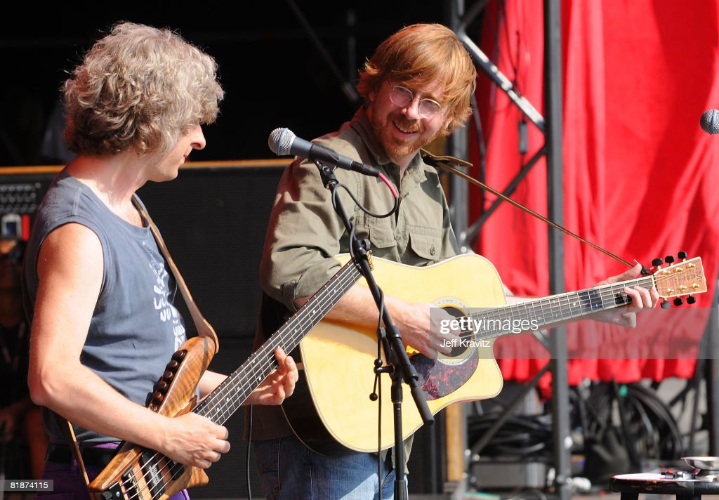 Mike Gordon and Trey Anastasio perform on the Odeum Stage during the Rothbury Music Festival 08 on July 6, 2008 in Rothbury, Michigan.