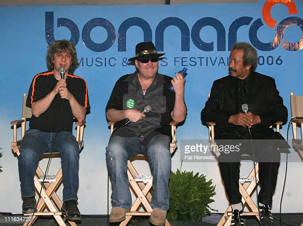 Mike Gordon John Popper and Allen Toussaint during Bonnaroo 2006 Day 2 Press Conference in Manchester Tennessee United States