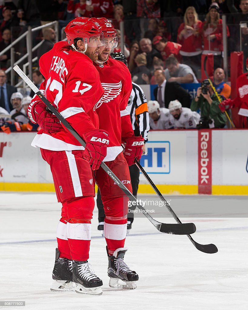 Mike Green #25 of the Detroit Red Wings celebrates his goal with teammate <a gi-track='captionPersonalityLinkClicked' href=/galleries/search?phrase=Brad+Richards&family=editorial&specificpeople=202622 ng-click='$event.stopPropagation()'>Brad Richards</a> #17 during an NHL game against the New York Islanders at Joe Louis Arena on February 6, 2016 in Detroit, Michigan.