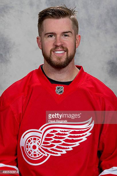 Mike Green of the Detroit Red Wings has his official NHL head shot taken at Centre Ice Arena on September 17 2015 in Traverse City Michigan