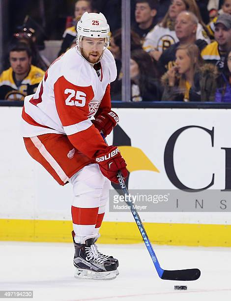 Mike Green of the Detroit Red Wings skates against the Boston Bruins during the first period at TD Garden on November 14 2015 in Boston Massachusetts