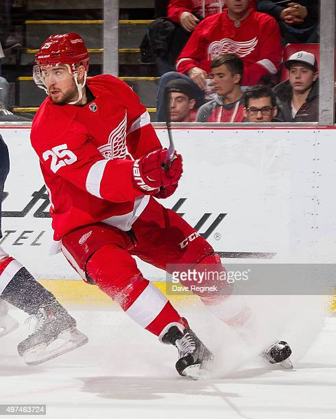 Mike Green of the Detroit Red Wings stops and follows the play during an NHL game against the Washington Capitals at Joe Louis Arena on November 10...