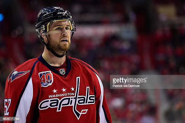 Mike Green of the Washington Capitals reacts between plays in the third period during an NHL game against the Philadelphia Flyers at Verizon Center...