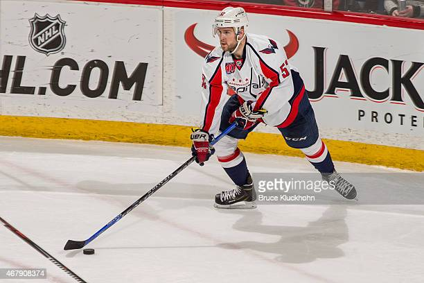 Mike Green of the Washington Capitals skates with the puck during the game with the Minnesota Wild on March 19 2015 at the Xcel Energy Center in St...