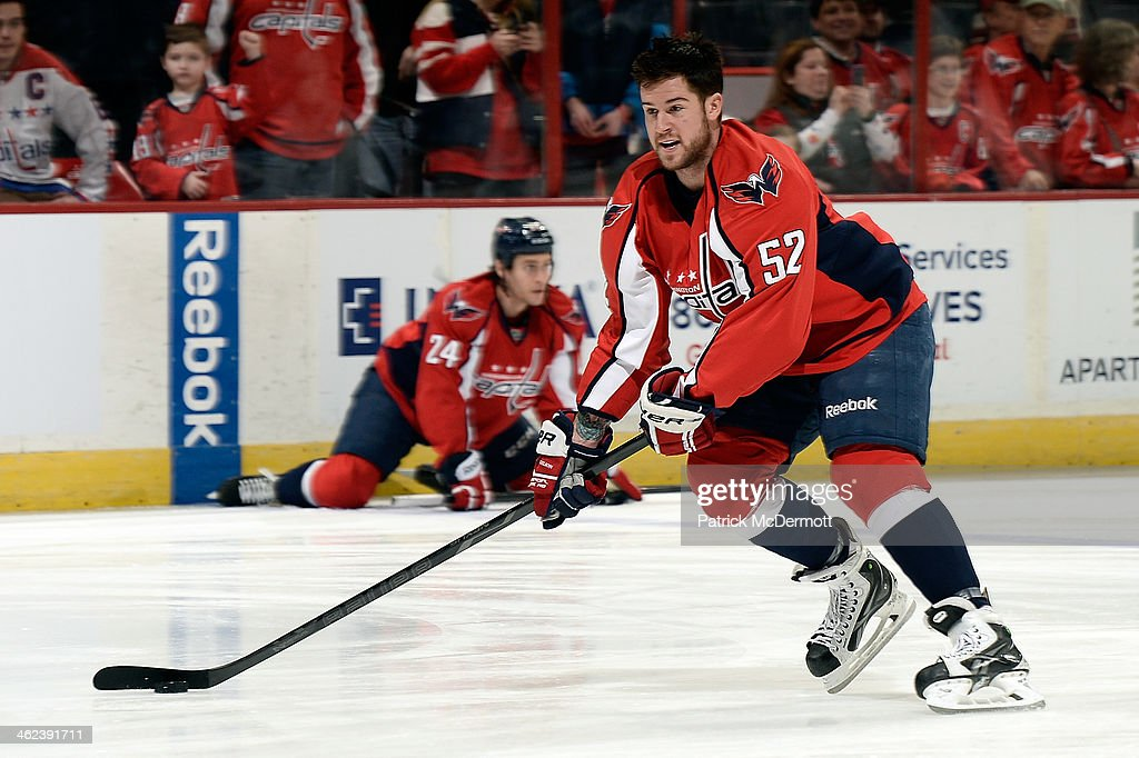 Mike Green #52 of the Washington Capitals warms up prior to playing an NHL game against the Toronto Maple Leafs at Verizon Center on January 10, 2014 in Washington, DC.