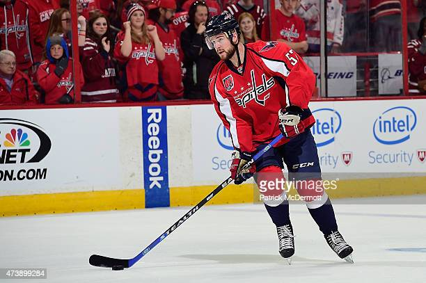 Mike Green of the Washington Capitals warms up prior to playing against the New York Islanders in Game Seven of the Eastern Conference Quarterfinals...