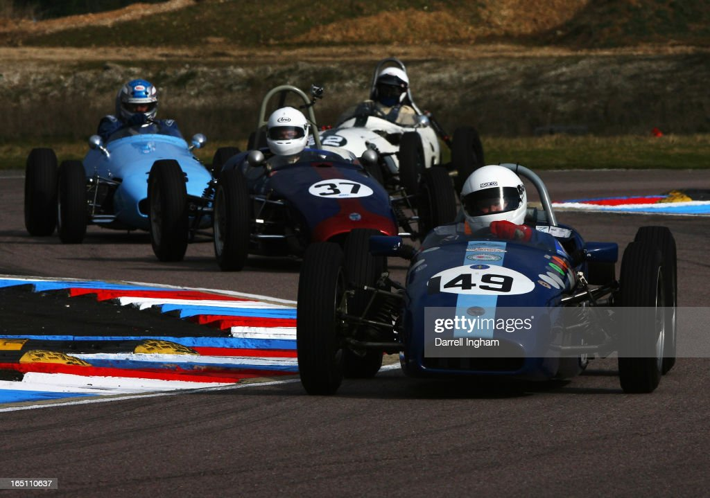 Mike Gregory drives the #49 De Tomasso ISIS during the HSCC Historic Formula Junior race at the Historic Sports Car Club Thruxton Revival Meeting at the Thruxton Circuit on March 30, 2013 near Andover, United Kingdom.