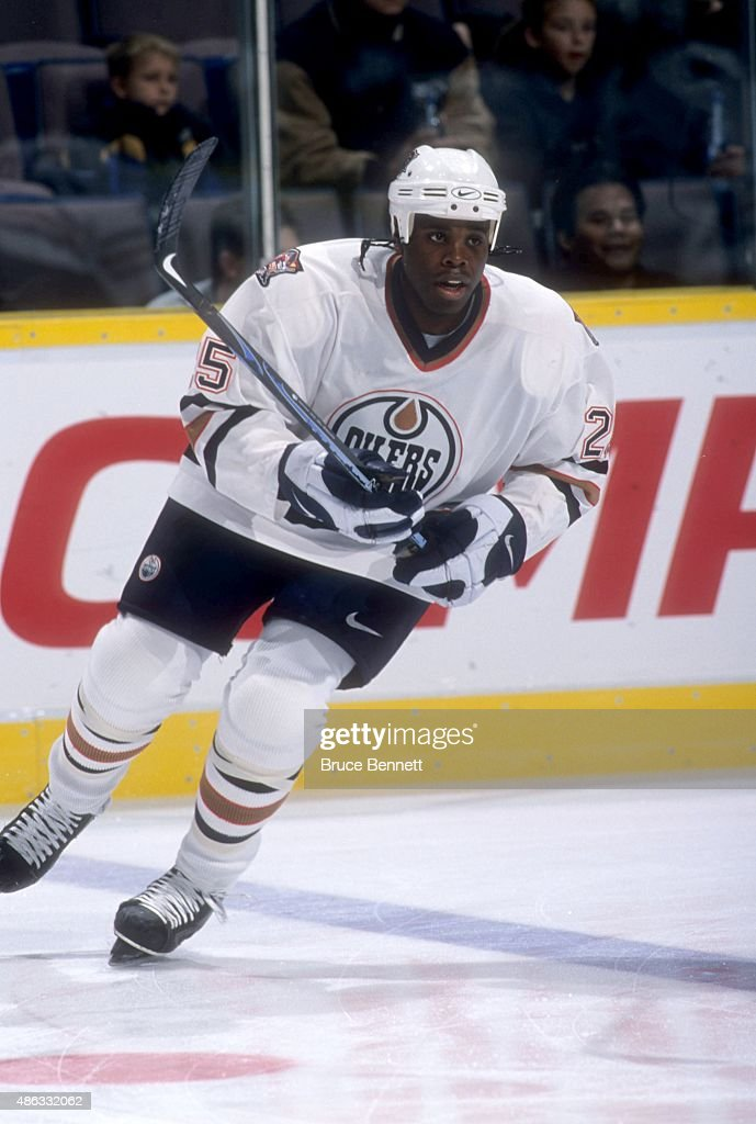 Mike Grier of the Edmonton Oilers skates on the ice during warmups before an NHL game against the Buffalo Sabres on October 13 2000 at the Rexall...