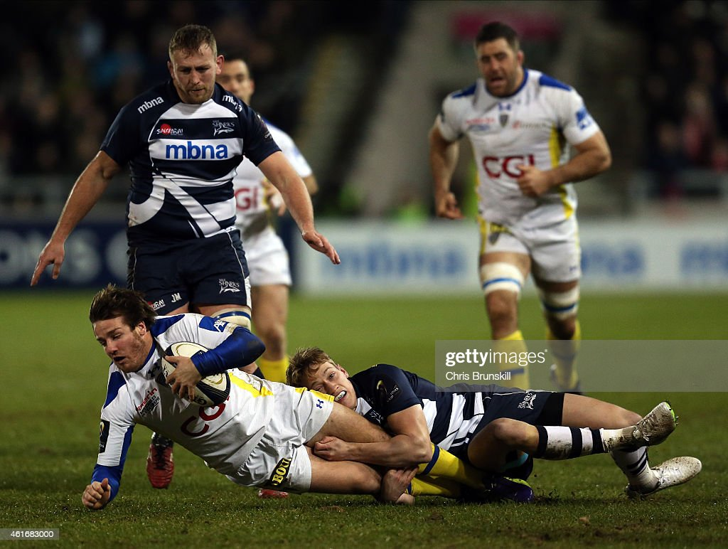 sharks v asm clermont auvergne european rugby champions cup mike haley of sharks tackles camille lopez of asm clermont auvergne during the european rugby