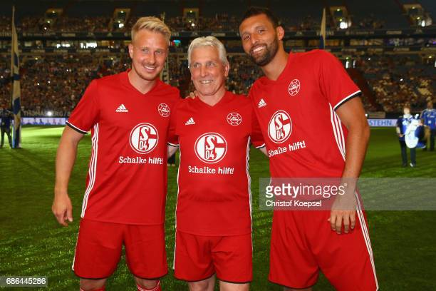 Mike Hanke Klaus Fischer and Kevin Kuranyi of Euro All Stars are seen prior to the 20 years of Eurofighter match between Eurofighter and Friends and...