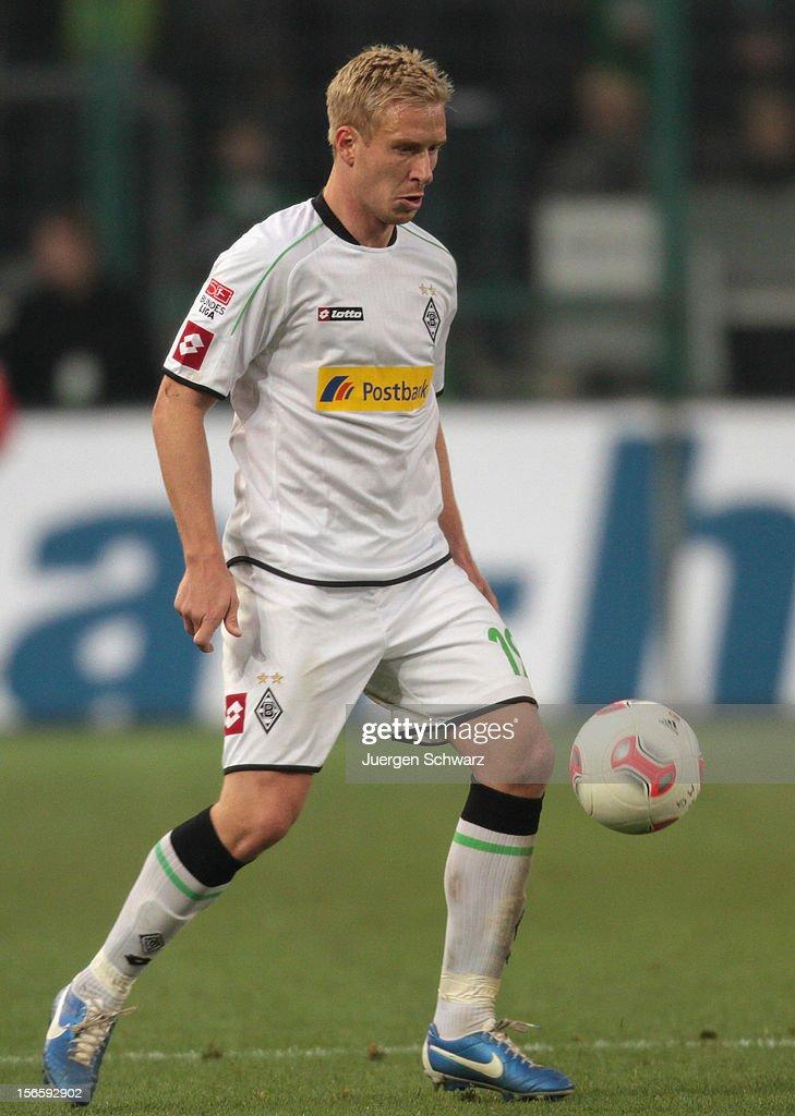 Mike Hanke of Moenchengladbach controls the ball during the Bundesliga match between Borussia Moenchengladbach and VfB Stuttgart at Borussia Park Stadium on November 17, 2012 in Moenchengladbach, Germany.