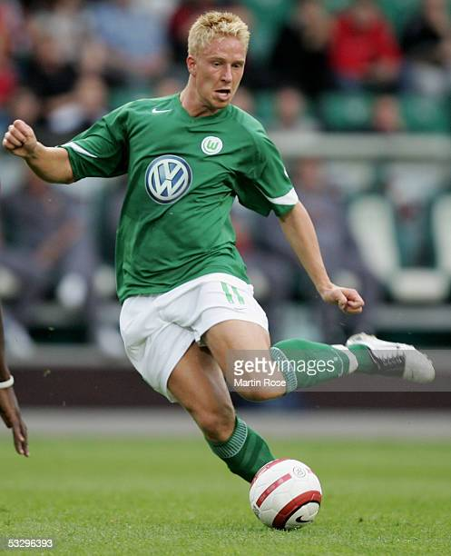 Mike Hanke of Wolfsburg runs with the ball during the UEFA Intertoto Cup semi final match between VfL Wolfsburg and RC Lens on July 27 2005 in...