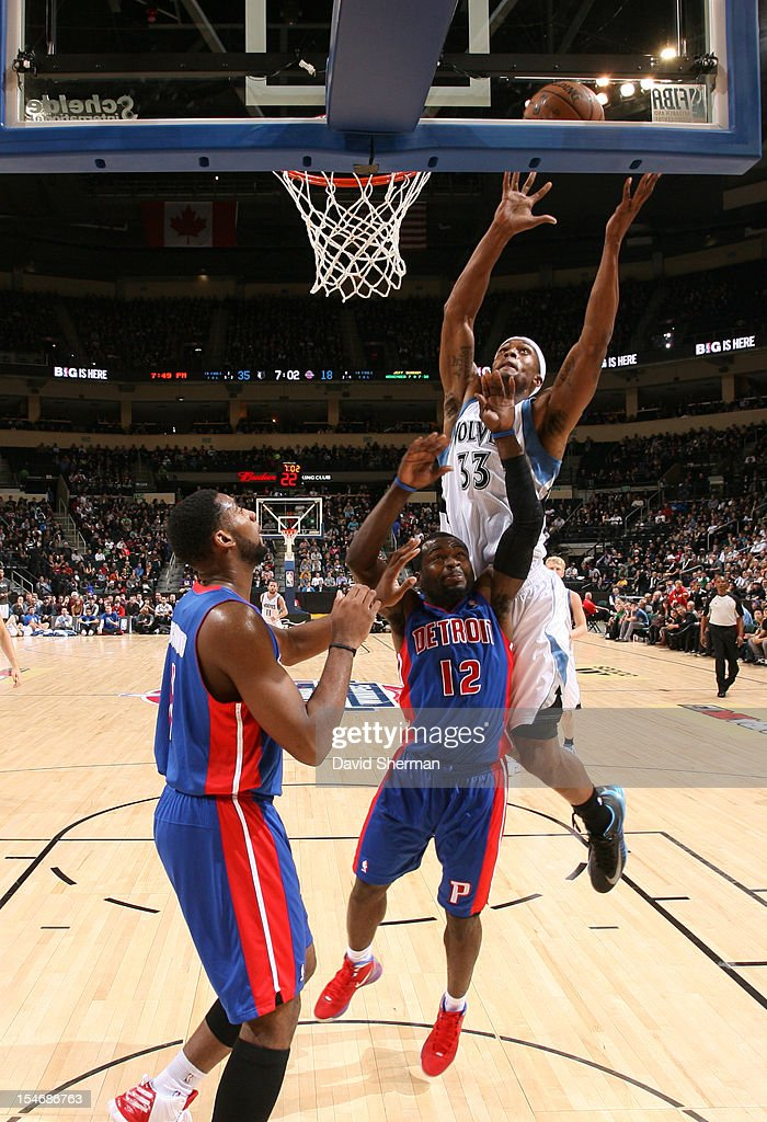 Mike Harris #33 of the Minnesota Timberwolves reaches for the ball during the game between the Minnesota Timberwolves and the Detroit Pistons during the NBA preseason as part of NBA Canada Series 2012 on October 24, 2012 at the MTS Centre in Winnipeg, Manitoba, Canada.