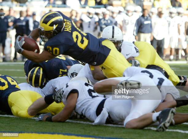 Mike Hart of the Michigan Wolverines scores a touchdown on a 2yard run in the third quarter against the Penn State Nittany Lions on October 15 2005...