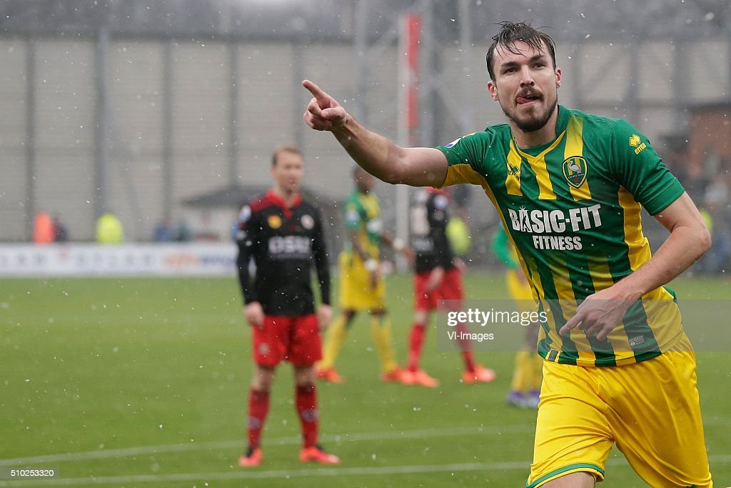 Mike Havenaar of ADO Den Haag during the Dutch Eredivisie match between Excelsior Rotterdam and ADO Den Haag at Woudenstein stadium on February 14, 2016 in Rotterdam, The Netherlands