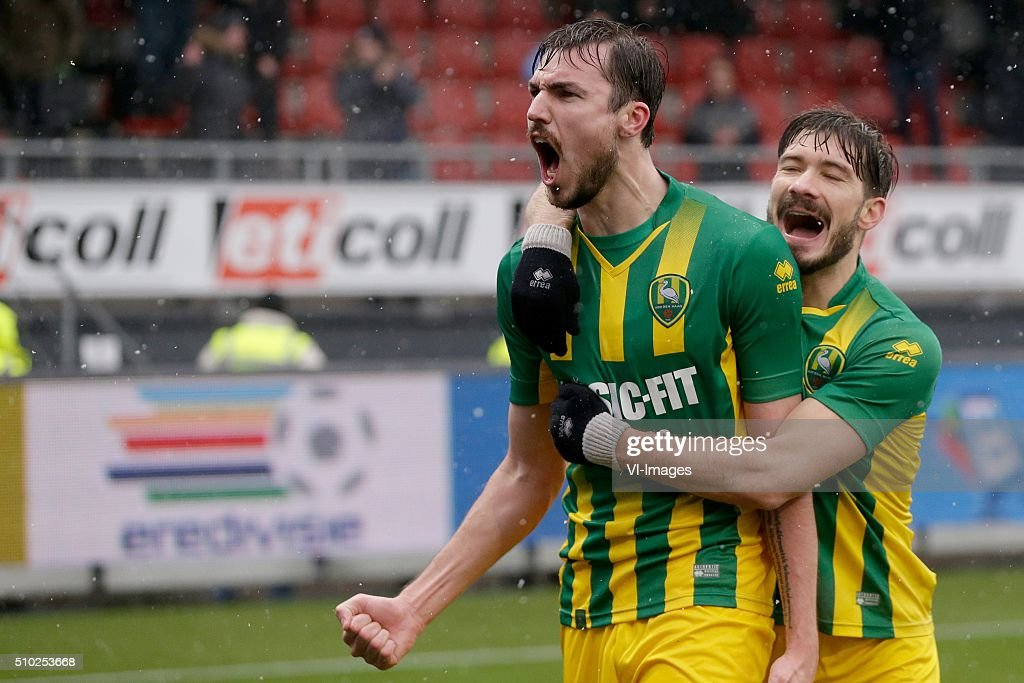 Mike Havenaar of ADO Den Haag, Edouard Duplan of ADO Den Haag during the Dutch Eredivisie match between Excelsior Rotterdam and ADO Den Haag at Woudenstein stadium on February 14, 2016 in Rotterdam, The Netherlands