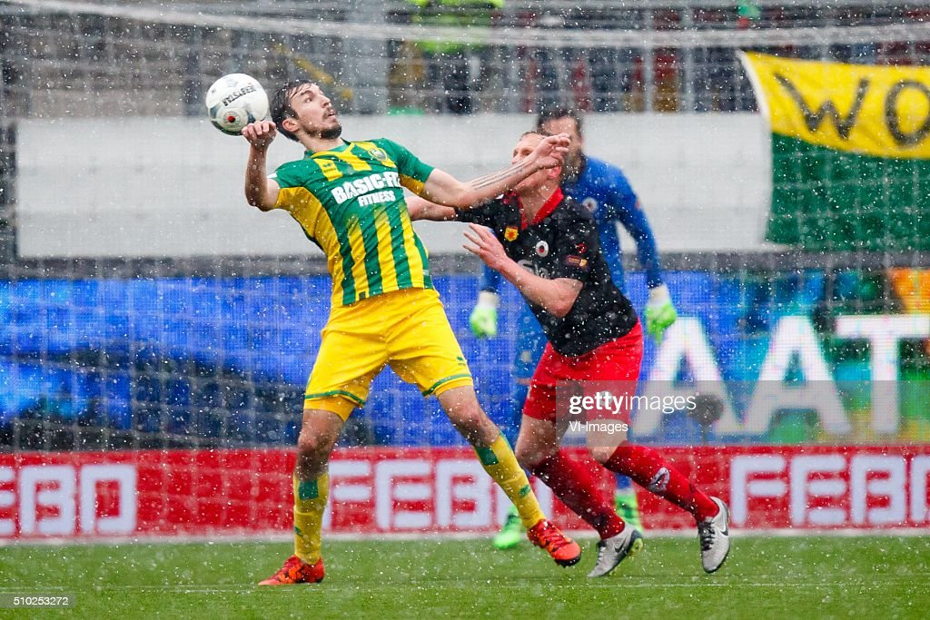 Mike Havenaar of ADO Den Haag, Henrici Drost of Excelsior, goalkeeper Filip Kurto of Excelsior during the Dutch Eredivisie match between Excelsior Rotterdam and ADO Den Haag at Woudenstein stadium on February 14, 2016 in Rotterdam, The Netherlands