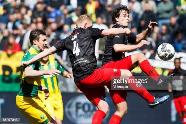 Mike Havenaar of ADO Den Haag Henrico Drost of Excelsior Jurgen Mattheij of Excelsiorduring the Dutch Eredivisie match between ADO Den Haag and sbv...
