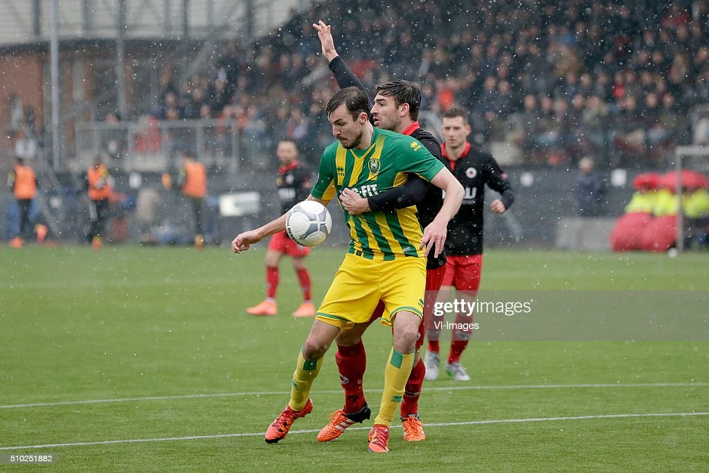 Mike Havenaar of ADO Den Haag, Sander Fischer of Excelsior Rotterdam during the Dutch Eredivisie match between Excelsior Rotterdam and ADO Den Haag at Woudenstein stadium on February 14, 2016 in Rotterdam, The Netherlands