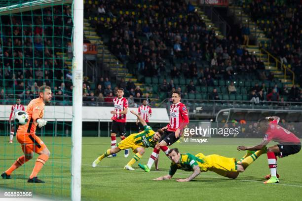 Mike Havenaar of ADO Den Haag scores but the goal was cencelled for offsideduring the Dutch Eredivisie match between ADO Den Haag and PSV Eindhoven...