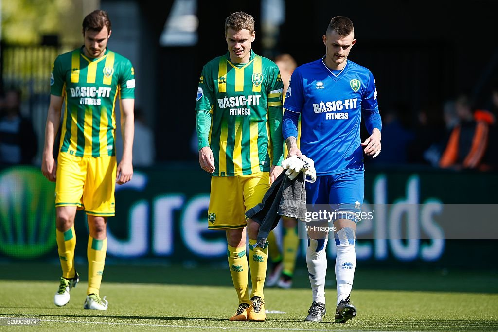 Mike Havenaar of ADO Den Haag, Thomas Kristensen of ADO Den Haag, goalkeeper Martin Hansen of ADO Den Haag during the Dutch Eredivisie match between Heracles Almelo and ADO Den Haag at Polman stadium on May 01, 2016 in Almelo, The Netherlands