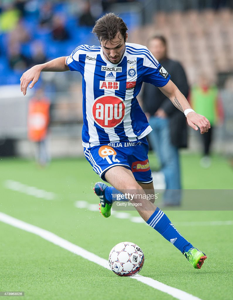 Mike Havenaar of HJK Helsinki in action during the Finnish First Division match between HJK Helsinki and FF Jaro at Sonera Stadium on May 3 2015 in...