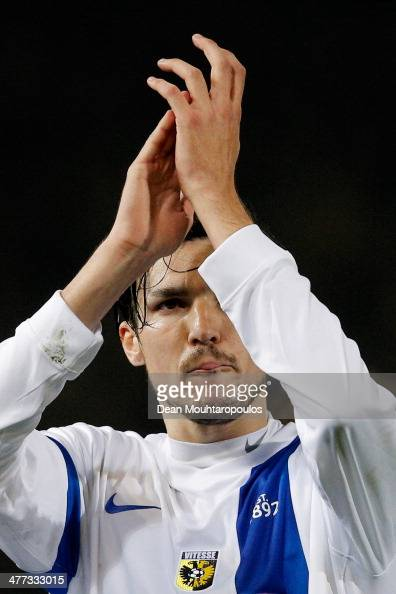 Mike Havenaar of Vitesse celebrates victory after the Eredivisie match between NAC Breda and Vitesse at the Rat Verlegh Stadion on March 8 2014 in...