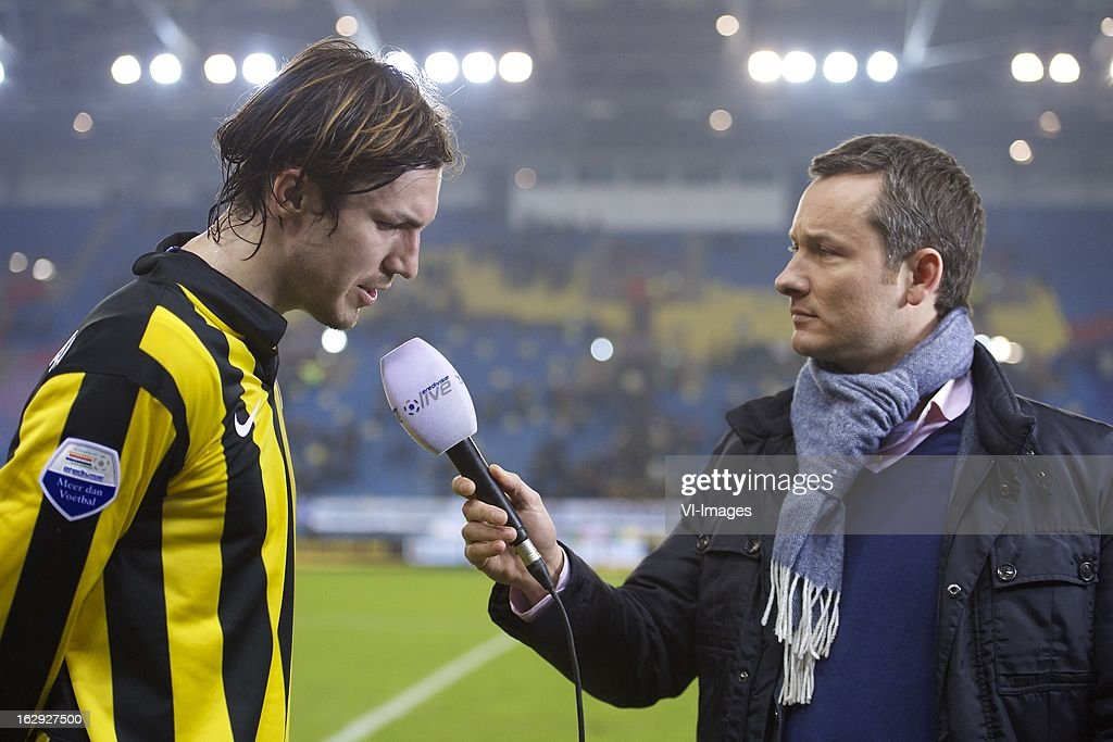 Mike Havenaar of Vitesse, interviewer Bas van Veenendaal of Eredivisie Live during the Dutch Eredivisie match between Vitesse Arnhem and FC Utrecht at the Gelredome on march 01, 2013 in Arnhem, The Netherlands