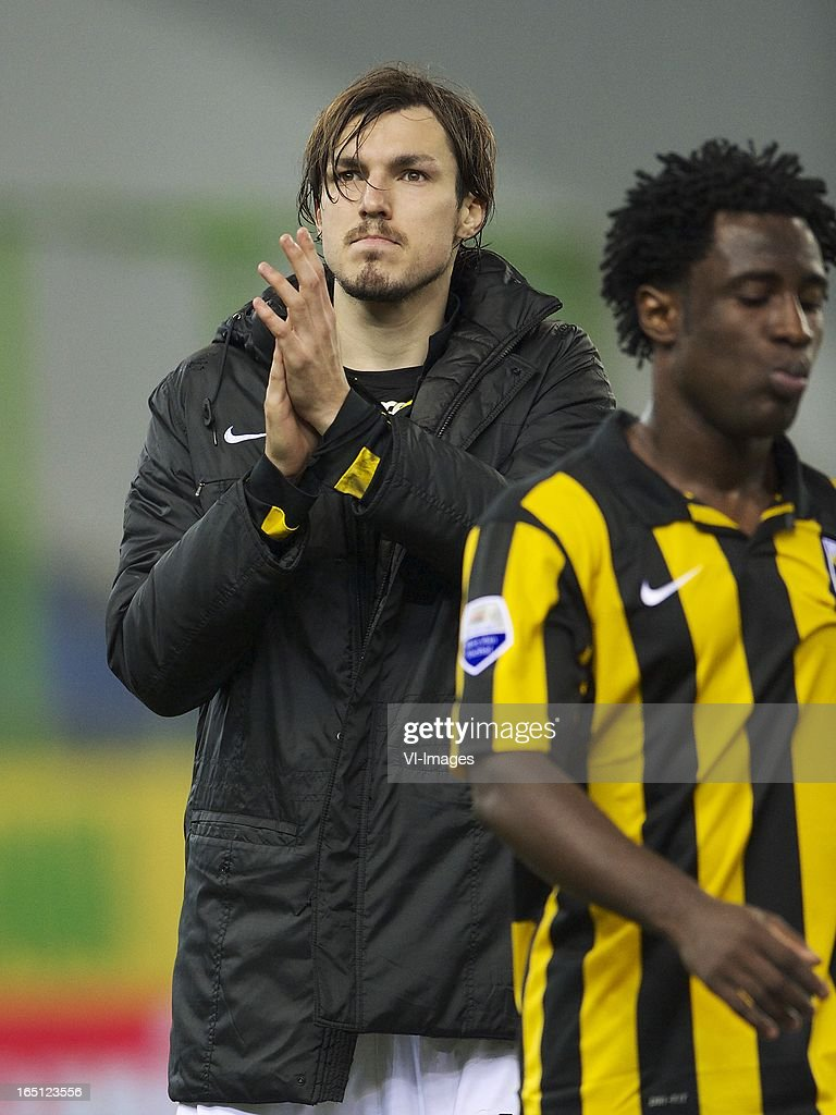 Mike Havenaar of Vitesse, <a gi-track='captionPersonalityLinkClicked' href=/galleries/search?phrase=Wilfried+Bony&family=editorial&specificpeople=4231248 ng-click='$event.stopPropagation()'>Wilfried Bony</a> of Vitesse during the Dutch Eredivisie match between Vitesse Arnhem and PEC Zwolle at the Gelredome on march 31, 2013 in Arnhem, The Netherlands