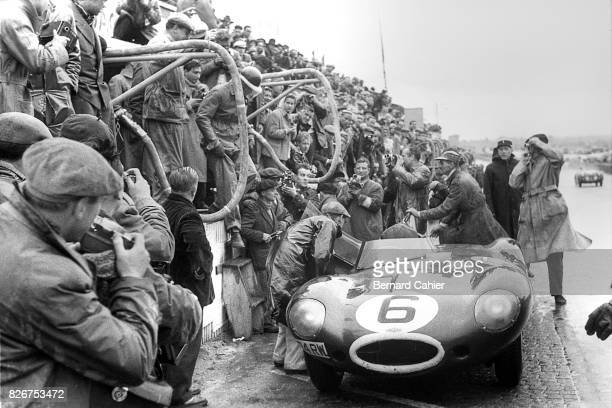 Mike Hawthorn Jaguar DType 24 Hours of Le Mans Le Mans 12 June 1955 Pit stop for Mike Hawthorn on his way to victory