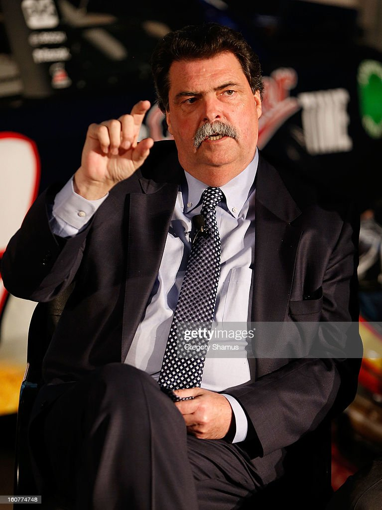 <a gi-track='captionPersonalityLinkClicked' href=/galleries/search?phrase=Mike+Helton+-+Racing+Executive&family=editorial&specificpeople=226522 ng-click='$event.stopPropagation()'>Mike Helton</a>, NASCAR president talks during a breakfast roundtable discussion featuring the Gen-6 car and presented by Sunoco on February 5, 2013 at the College for Creative Studies in Detroit, Michigan.