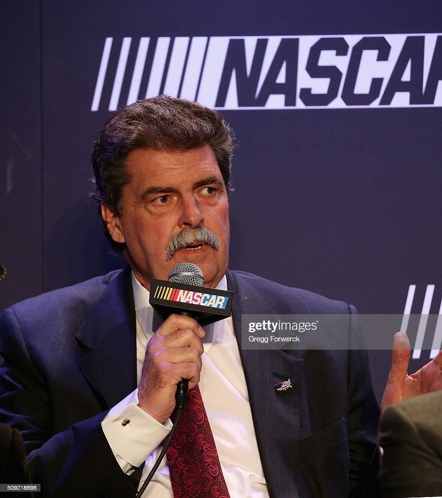 Mike Helton NASCAR Vice President addresses the media at Charlotte Convention Center on February 9, 2016 in Charlotte, North Carolina.