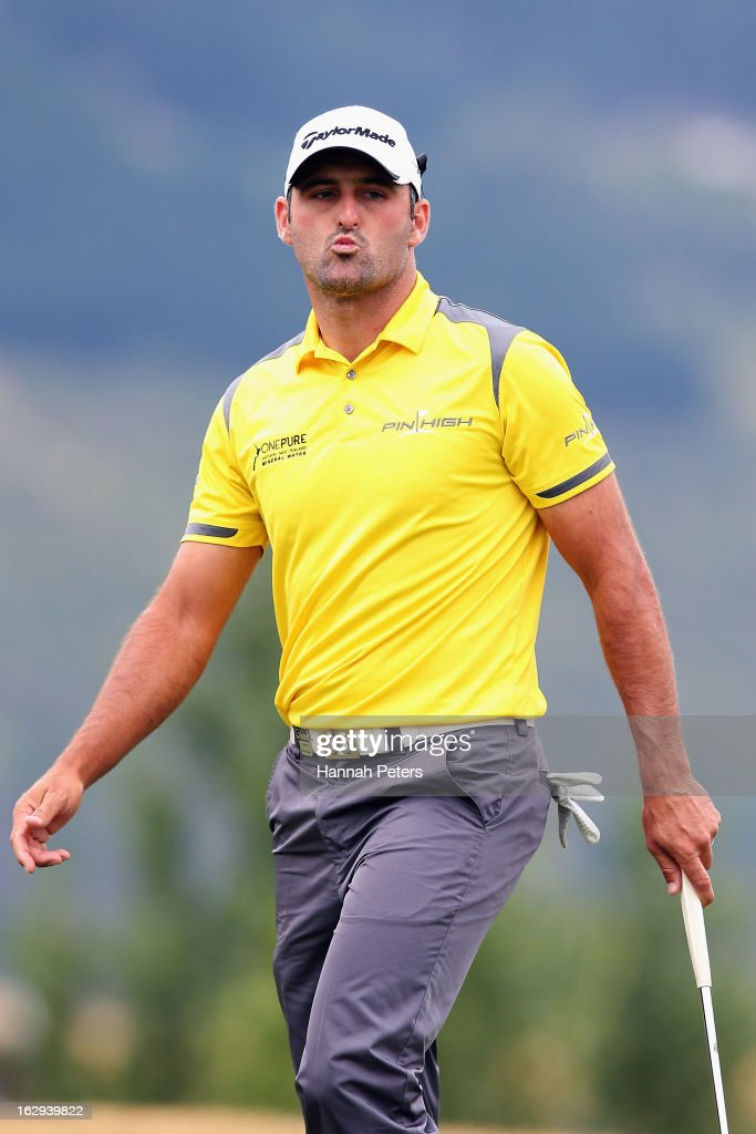 Mike Hendry of New Zealand reacts after missing a putt during day three of the New Zealand PGA Championship at The Hills Golf Club on March 2, 2013 in Queenstown, New Zealand.