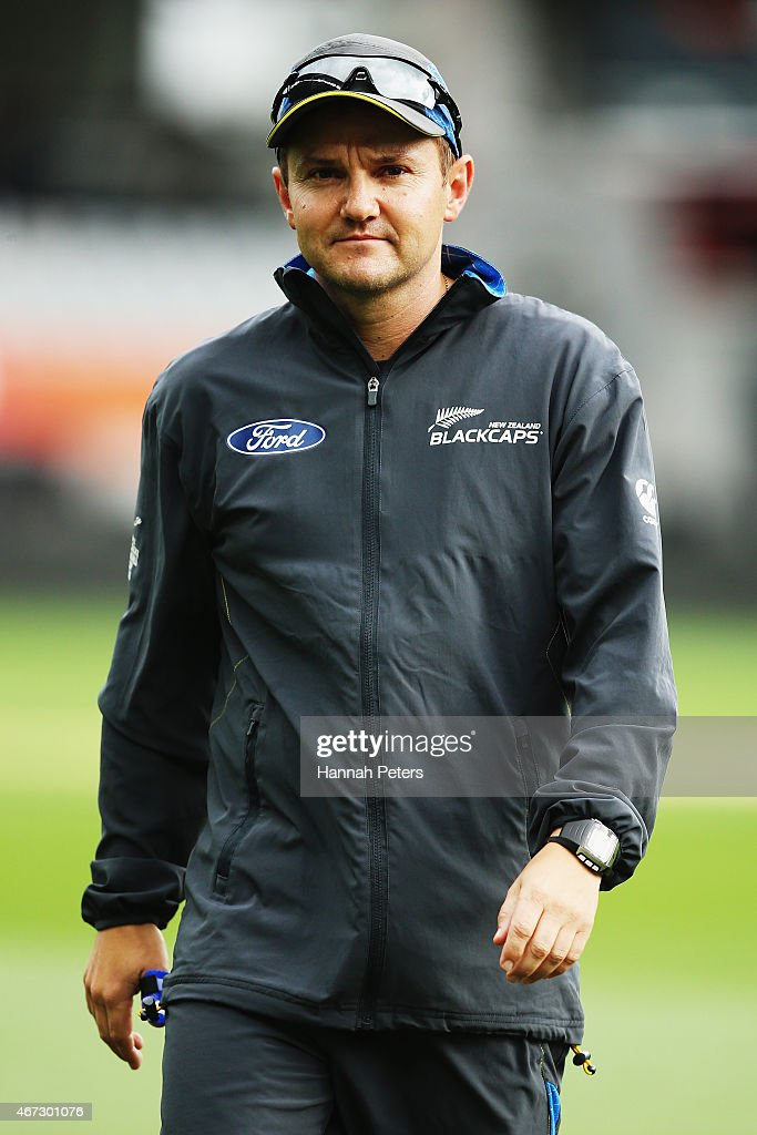 <a gi-track='captionPersonalityLinkClicked' href=/galleries/search?phrase=Mike+Hesson&family=editorial&specificpeople=9567309 ng-click='$event.stopPropagation()'>Mike Hesson</a>, coach of New Zealand arrives for a New Zealand nets session at Eden Park on March 23, 2015 in Auckland, New Zealand.
