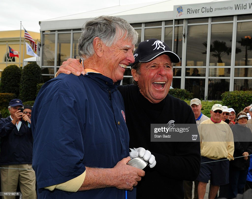 Mike Hill and Gary Player laugh together on the first hole during the first round of the Demaret Division at the Liberty Mutual Insurance Legends of Golf at The Westin Savannah Harbor Golf Resort & Spa on April 22, 2013 in Savannah, Georgia.