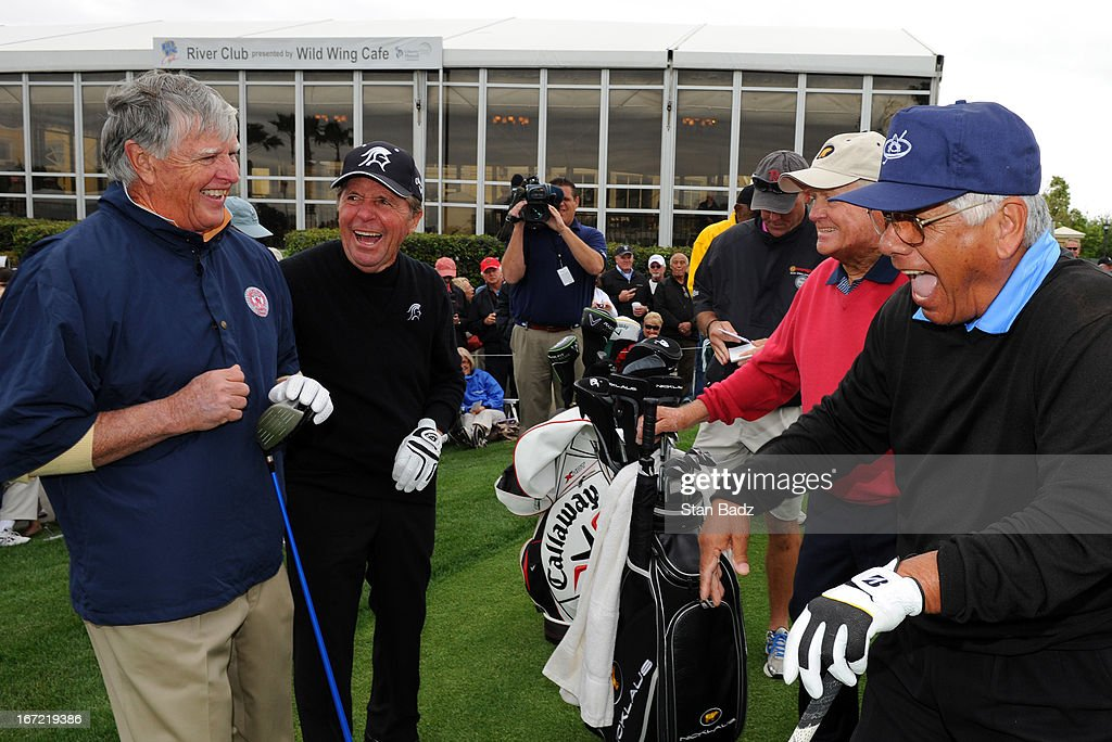 Mike Hill, Gary Player, Jack Nicklaus, and Lee Trevino all laugh together on the first hole during the first round of the Demaret Division at the Liberty Mutual Insurance Legends of Golf at The Westin Savannah Harbor Golf Resort & Spa on April 22, 2013 in Savannah, Georgia.