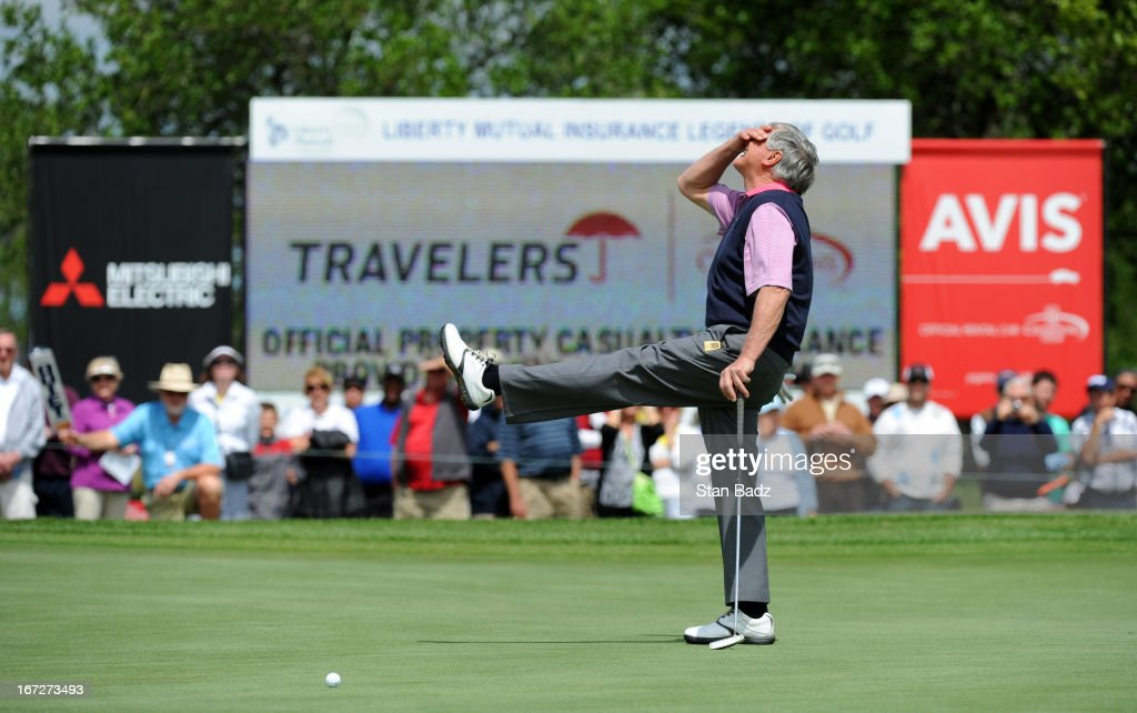 Mike Hill reacts to his putt to tie for a playoff on the 18th green during the final round of the Demaret Division at the Liberty Mutual Insurance...