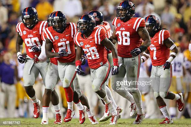 Mike Hilton of the Mississippi Rebels reacts after an interception against the LSU Tigers at Tiger Stadium on October 25 2014 in Baton Rouge Louisiana